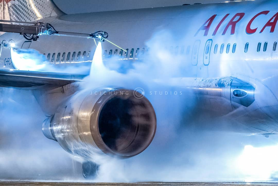 An Air Canada Boeing 767 gets deiced at Toronto Pearson International Airport. Photo submitted by John Chung (Instagram user @jcjchung) using #skiesmag