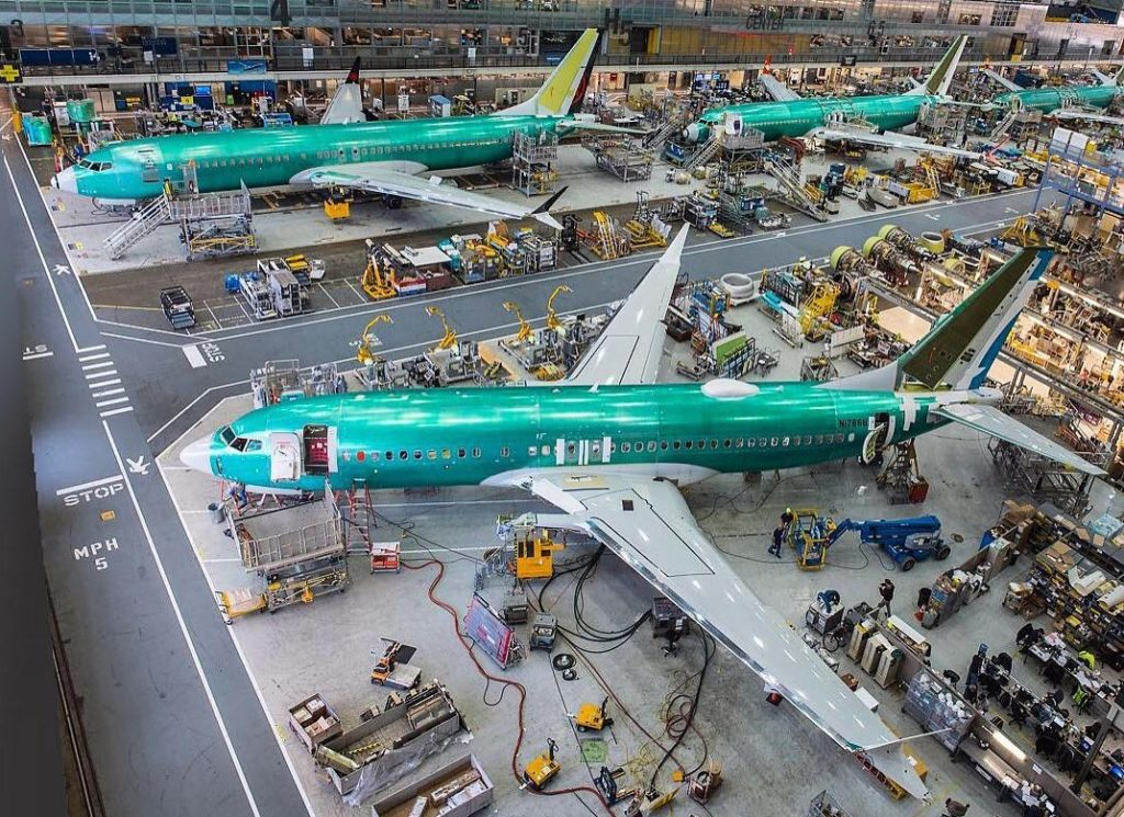 Here, Boeing's MAX 7, MAX 8 and MAX 9 aircraft are shown in production at Boeing's Renton, Wash., factory. Boeing Photo