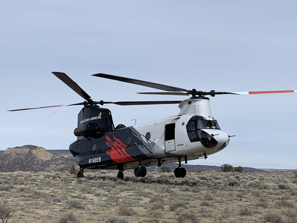 The first painted Coulson-Unical CH-47 Chinook, to be called the CU-47. Coulson Aviation Photo
