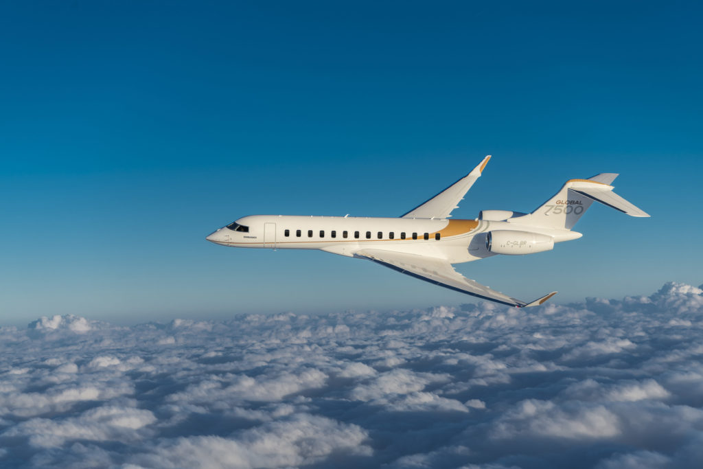 The Global 7500 completed the first ever non-stop flight from London City Airport to Los Angeles, Calif. Bombardier Photo