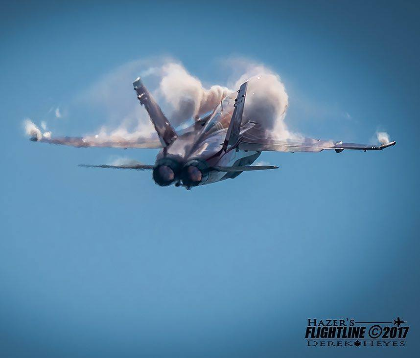 A CF-18 Demo Team jet at the Abbotsford Airshow. Photo submitted by Derek Heyes (Instagram user @hazers_flightline) using #skiesmag