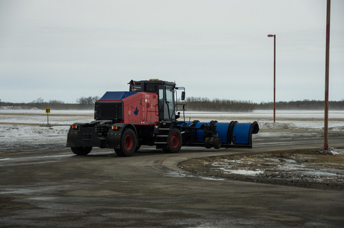 Otto, North America's first autonomous airport snowplow, at Winnipeg Richardson International Airport.