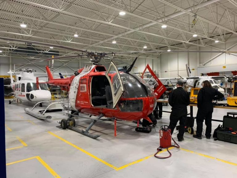 The Bo.105 helicopter will be used by Canadore College for hands-on training for mechanical and engineering programs. Canadore College Photo