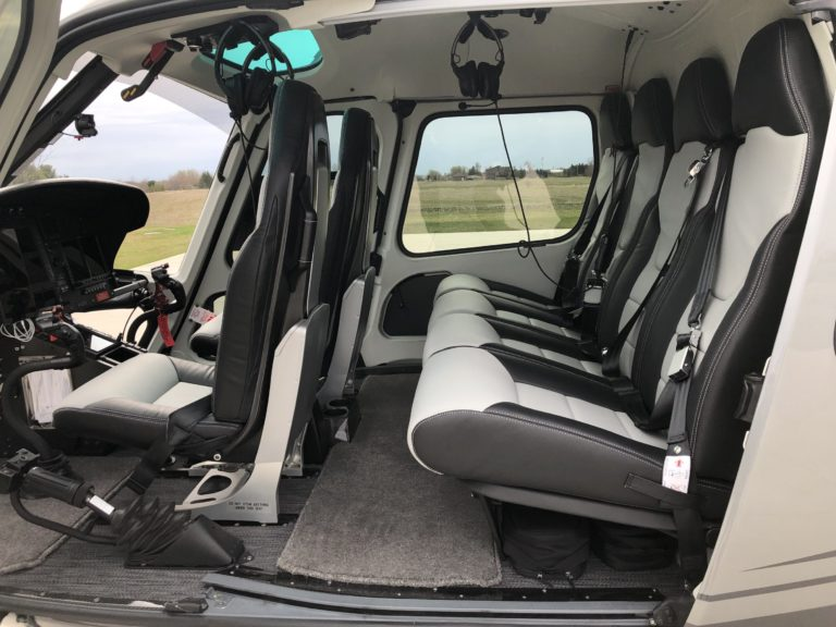 The interior of the H125 is fitted with luxury materials, including carbon fiber trim, leather lined doors, and tinted windows. Oliver Johnson Photo