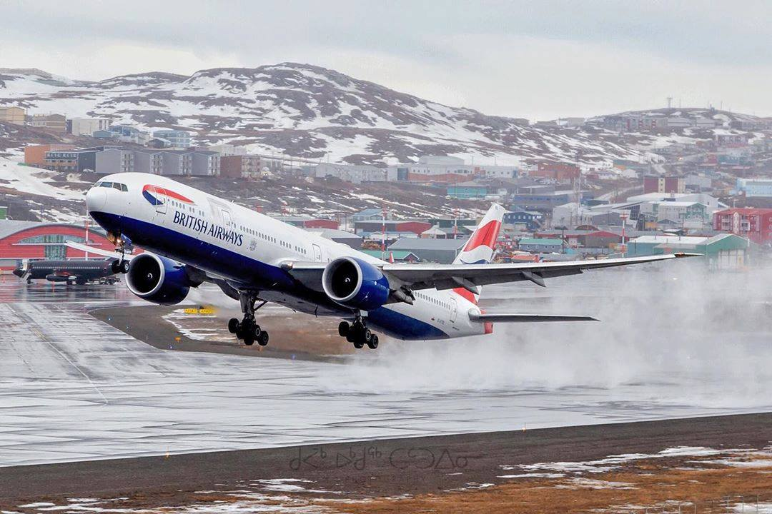 A British Airways 777-300 under flight 273 from London to San Diego diverted to Iqaluit due to a medical emergency onboard. Photo submitted by Instagram user @tattuinee using #skiesmag