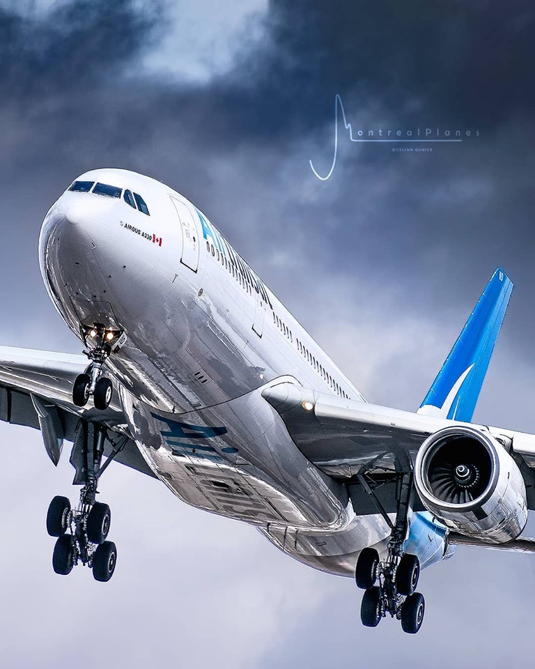 An Air Transat Airbus A330 approaches landing at Toronto Pearson. Photo submitted by Instagram user @montreal.planes using #skiesmag