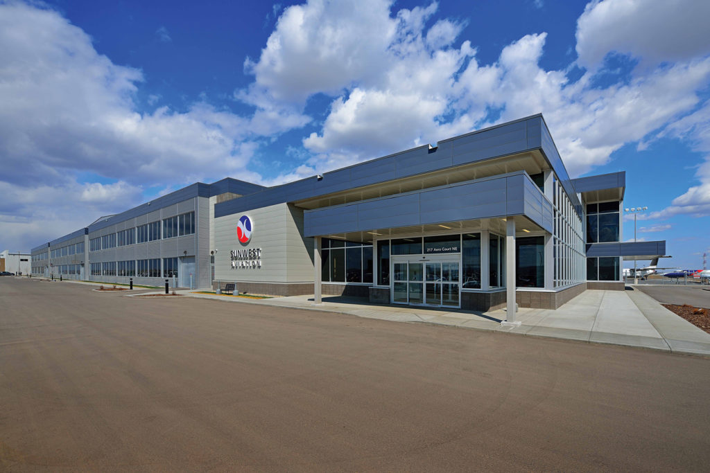 Sunwest's hangar complex comprises 377,000 square feet of building and airside ramp space. Kristian Bogner Photo