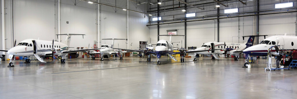 Four 27,500-square-foot bays with varying door sizes can admit aircraft as large as a narrow-body Boeing commercial jet. Sunwest Aviation Photo