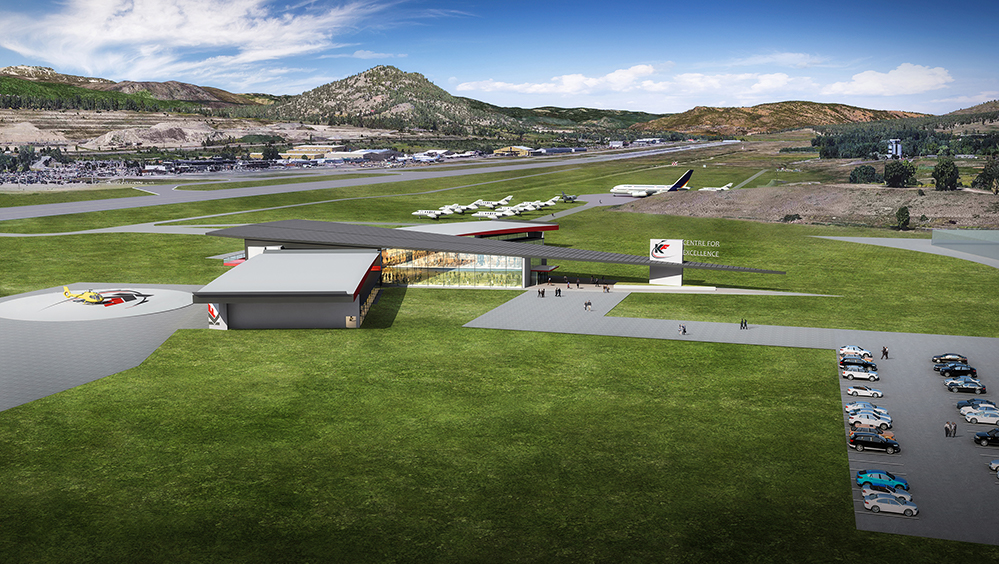 A computer rendering of the proposed KF Aerospace Centre for Excellence, which will sit across from Kelowna International Airport. KF Aerospace Image