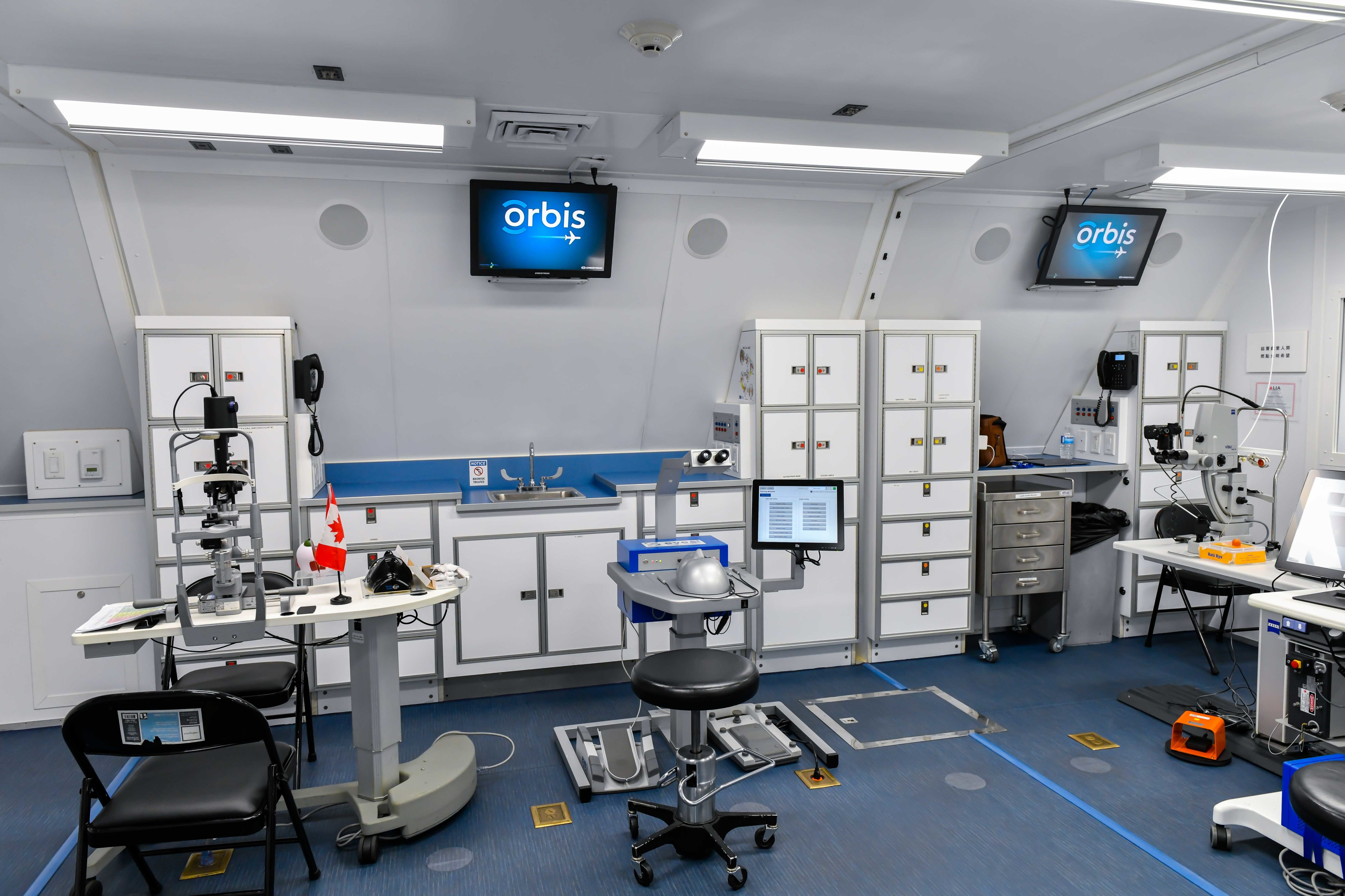The exam room, operating suite and recovery room are all modular components that are house on the aircraft, allowing the hospital to be independent from the plane. Rob Reyno Photo