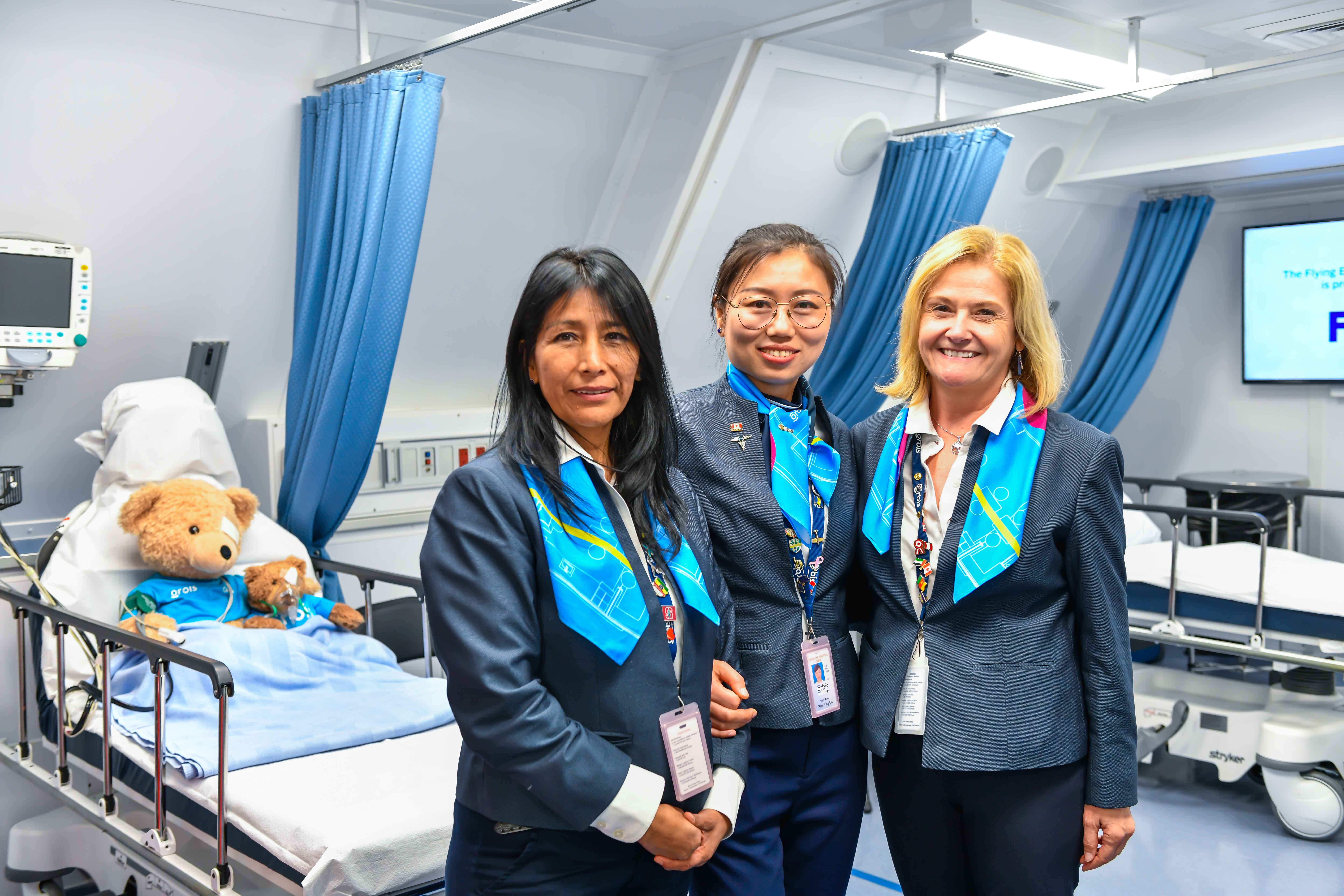 Orbis is completely staffed by volunteers, with nurses like Elisa Urruchi, Xiao Ying Liu, Monelle Ross (L to R) pictured here. Rob Reyno Photo