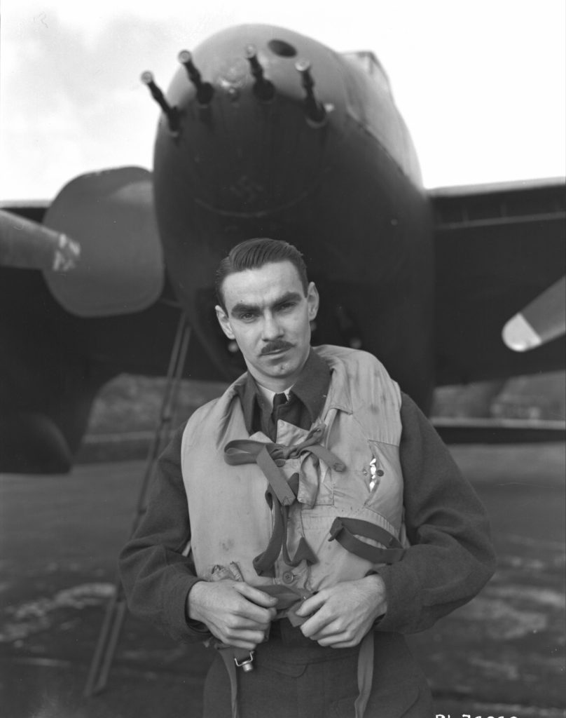 D.A. MacFadyen, a Mosquito pilot with an R.C.A.F. night Intruder Squadron who shot down four enemy aircraft in the waning hours of D-Day. RCAF Photo