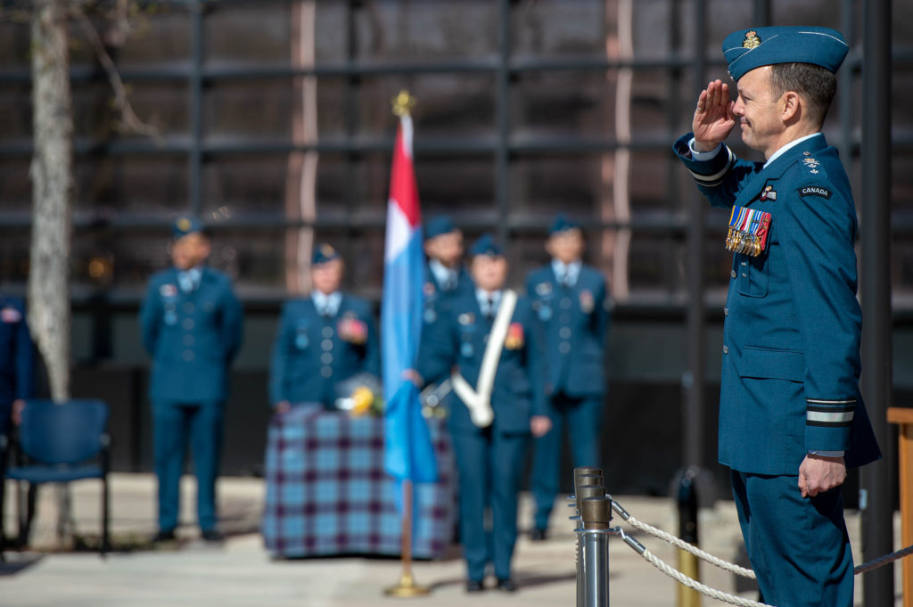 1 Canadian Air Division Commanding Officer, MGen Alain Pelletier receives a salute during the 1 CAD Change of Command ceremony at 1 CAD, Winnipeg on May 16th, 2019. RCAF/Cpl Bryce Cooper Photo