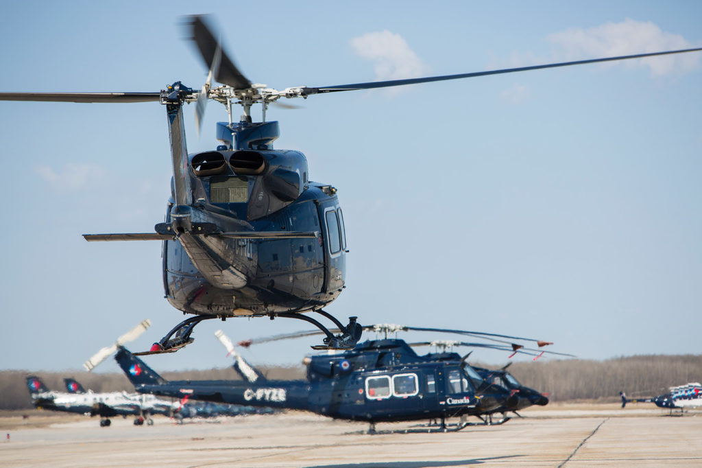 Bell 412 helicopters on the flight line at 3 CFFTS. Jean-Francois Dupont Photo
