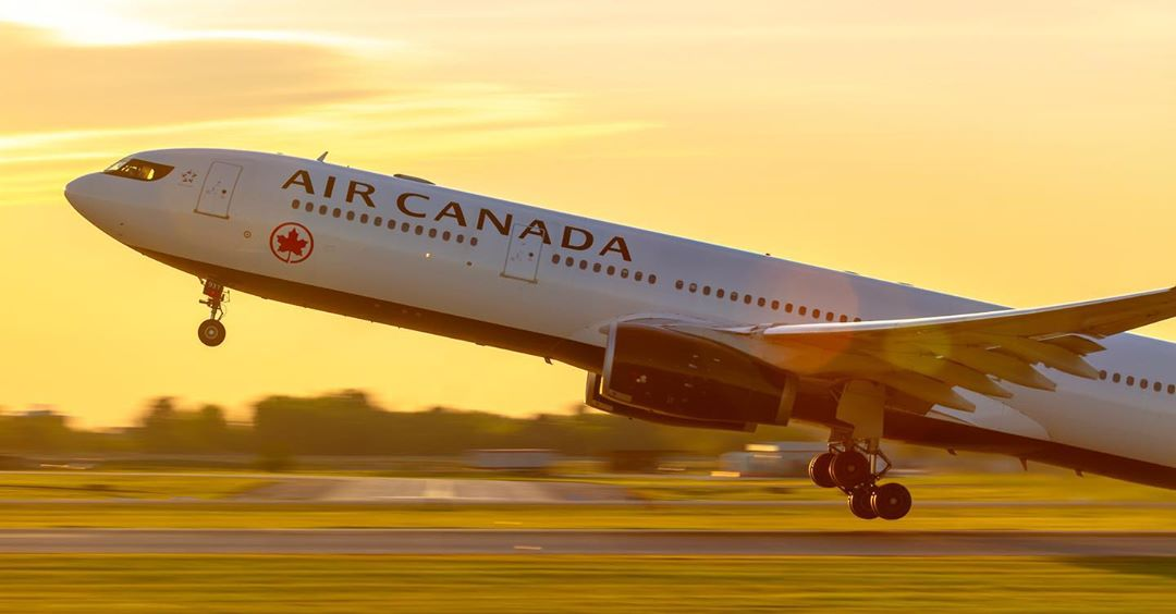 An Air Canada Airbus A330 taking off from 24L at YUL during a striking sunset. Photo submitted by Pat Lalande (Instagram user @yvrspotterxcaf) using #skiesmag.