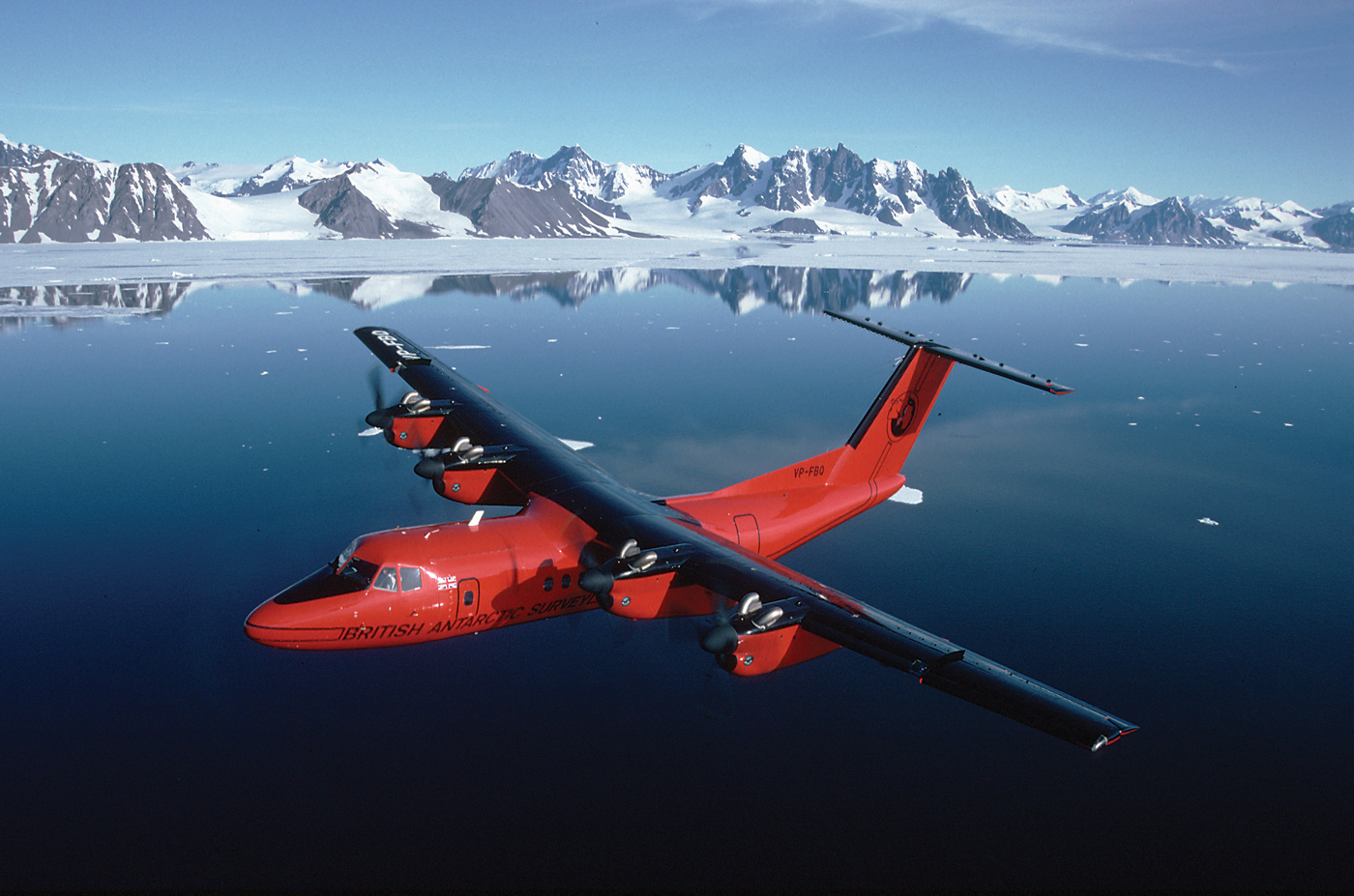 British Antarctic Survey's Dash 7 makes regular flights to and from the Falkland Islands during the austral summer. The 1,900-kilometre journey can be completed in five hours with up to 16 passengers or 2,000 kilograms of cargo on board. BAS Photo