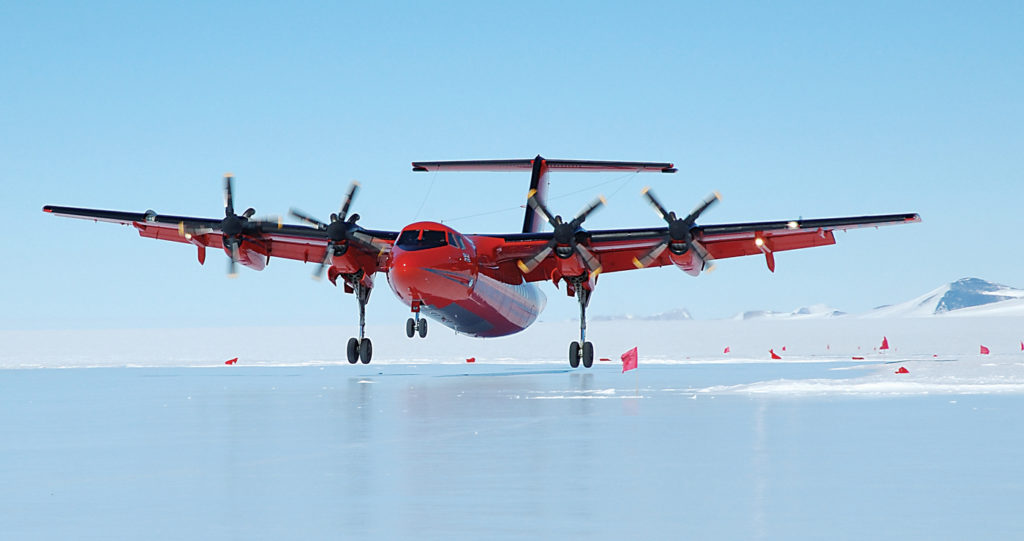 British Antarctic Survey fitted its Dash 7 with long-range fuel tanks with a fuel jettison system, a large cargo door and a strengthened cargo floor. Because the aircraft can land on ice runways, it is a regular visitor to the Sky-Blu Field Station. BAS Photo