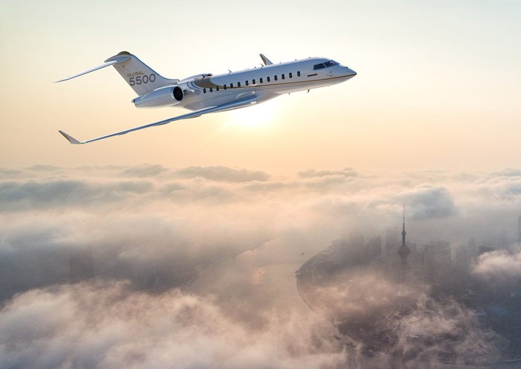 The Global 5500 features a newly optimized wing, an all-new engine and a redesigned cabin including Bombardier's patented Nuage seating. Bombardier Image