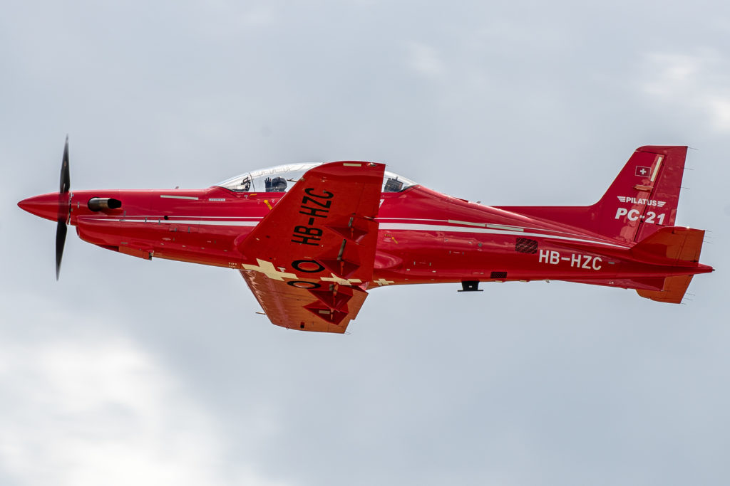 The Pilatus PC-21 military trainer debuted in North America at the 2019 Saskatchewan Airshow. Krystal Wilson Photo