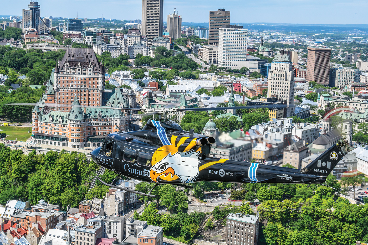 The 430 Squadron anniversary bird soars over Quebec City. Mike Reyno Photo