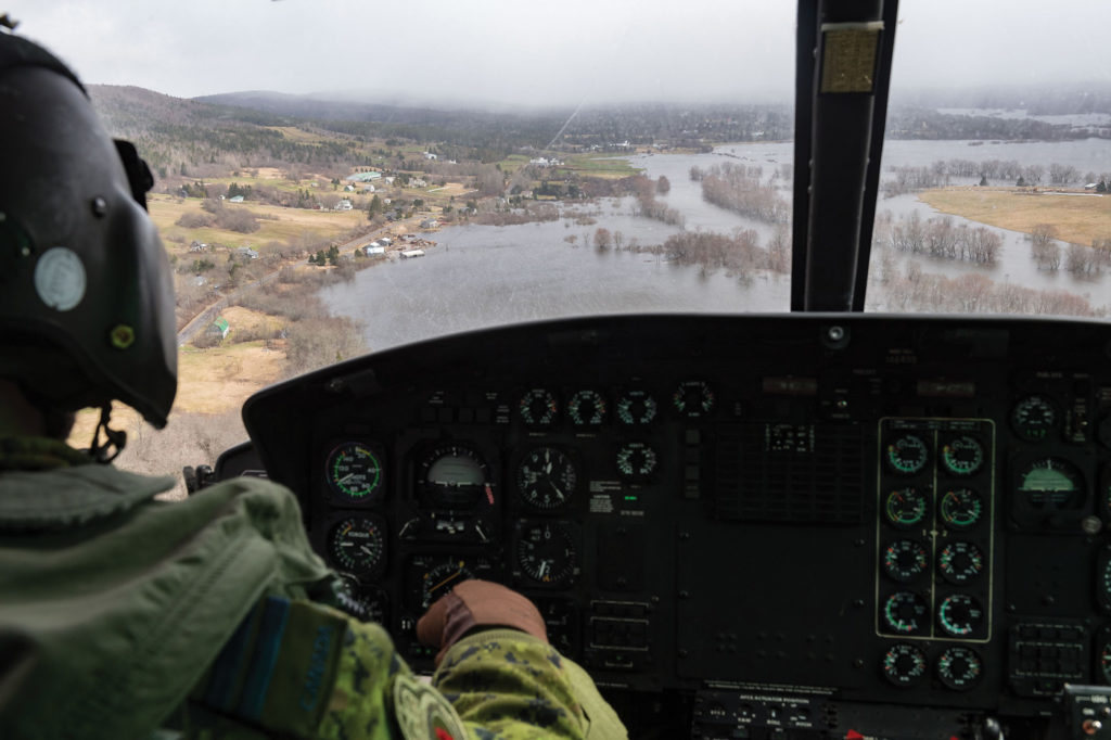 A Griffon's-eye-view of flood waters in New Brunswick during Operation Lentus. Cpl Matthieu Racette Photo