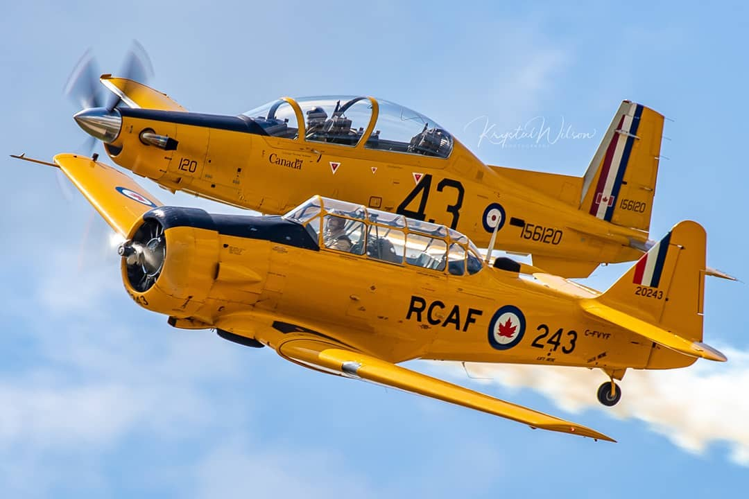 Great shot of a pair of Harvards – the CT-156 and Mk 4 – flying side-by-side in the skies above Saskatchewan. Photo submitted by Krystal Wilson (Instagram user @krystalphotos) using #skiesmag.
