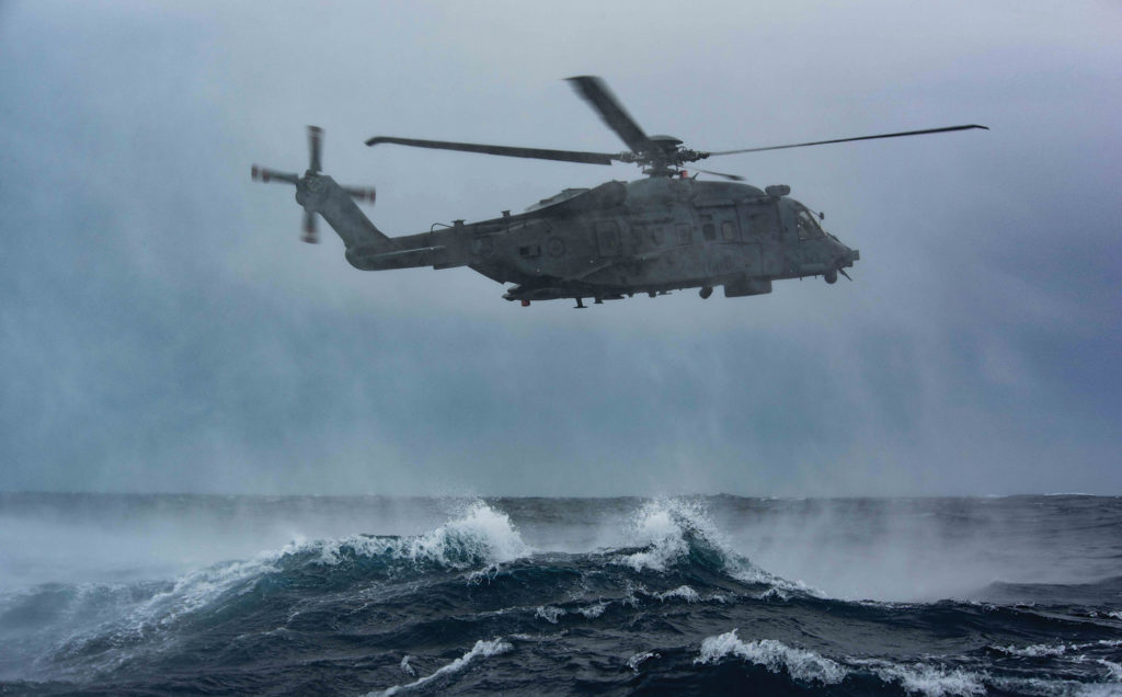 The CH-148 Cyclone helicopter from HMCS Toronto, gets into position over the Mediterranean Sea during diver deployment training during Operation Reassurance in April 2019. MCpl Manuela Berger Photo