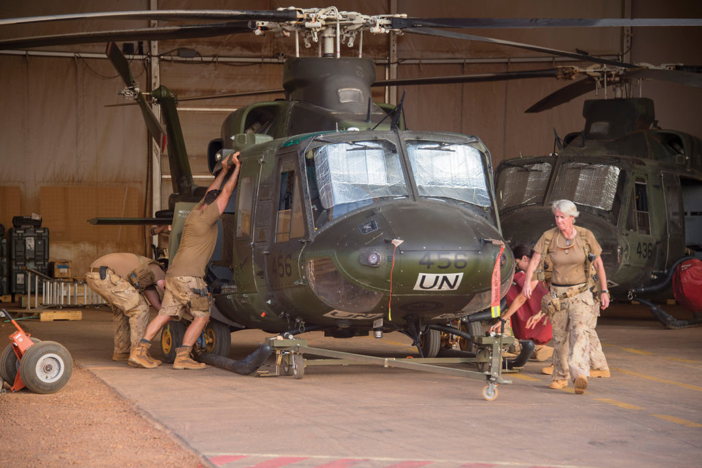 Maintenance is performed around the clock in Mali. Cpl Francois Charest Photo