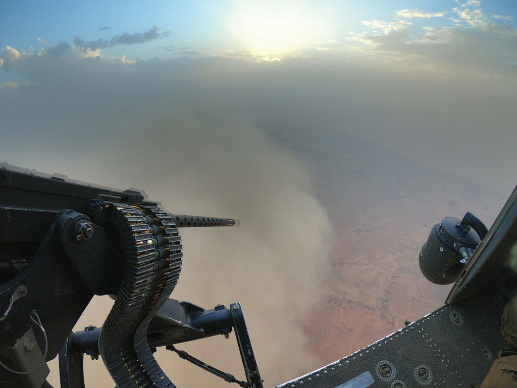 A CH-146 Griffon helicopter flies past a haboob (sandstorm) heading towards Gao, Mali. Cpl Francois Charest Photo