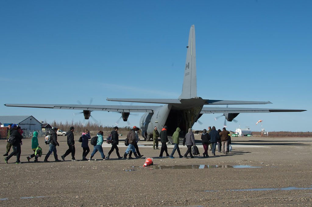 Two CC-130 Hercules evacuated Northern communities affected by flooding in Timmins, Kapuskasing and Ottawa respectively during Operation Lentus in 2014. Cpl Levarre McDonald Photo