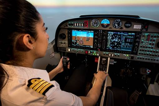 Students who are learning to become pilots complete their training on the AL42 towards the Multi/Instrument Flight Rating and then proceed to an actual aircraft. Alsim Photo