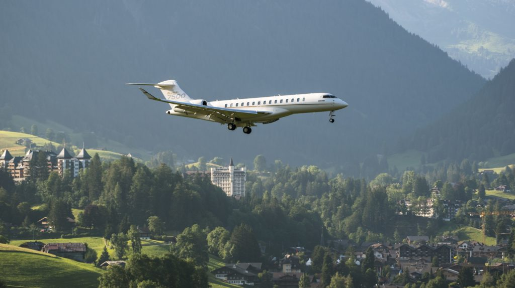 The Global 7500 jet's design makes it the largest business jet with the short-field performance and steep approach capabilities allowing it to operate out of demanding airfields such as Gstaad's Saanen airport or London City Airport, connecting passengers to key regions in Europe and the Middle East non-stop. Bombardier Photo