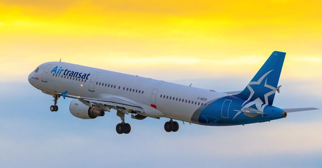 Air Transat's Airbus A321-211 departs runway 24L from YUL during a stunning sunset. Photo submitted by Pat Lalande (Instagram user @yvrspotterxrcaf) by tagging @skiesmag.