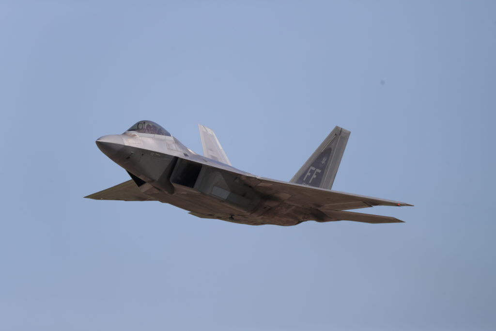 The U.S. Air Force F-35 and F-22 (pictured) Demo Team flew daily performances at Oshkosh -- 2019 was deemed the