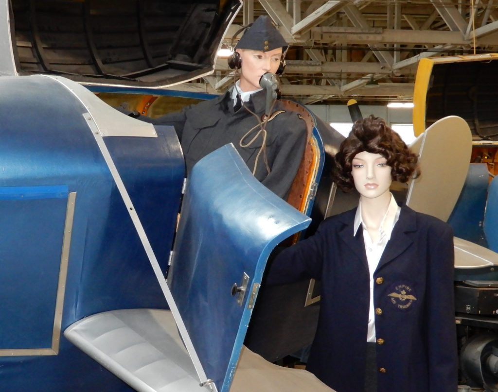 A mannequin representing trainer Margaret Littlewood is present -- a key component of the exhibit. She is seen wearing a blazer with a crest bearing the name Empire Air Training. John Chalmers Photo