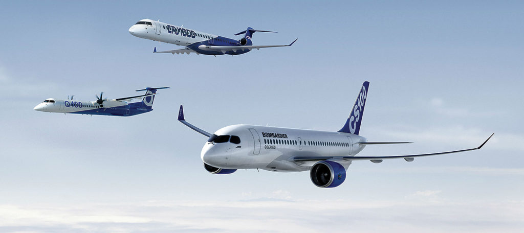 Family photo: Bombardier's product strategy was to develop complementary families of Dash 8 turboprops and CRJ regional jets -- and later the C Series airliner --- and then let an airlines decide what aircraft best suited their routes and passengers. Bombardier Image