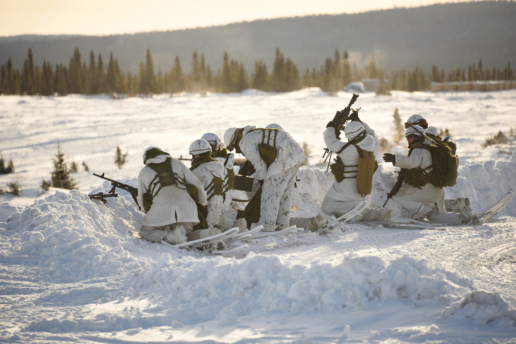 Members from the 1st Battalion, Royal 22e Regiment train at 5 Wing's Practice Target Area during Exercise Castor Boreal. Cpl Danny Drapeau Photo