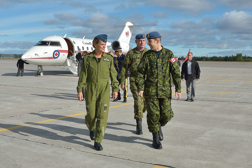 Julie Payette, Governor General of Canada, is greeted by Wing Commander, LCol Stephane Racle and MWO David McDowell, on her arrival to 5 Wing Goose Bay in September 2018. MCpl Krista Blizzard Photo