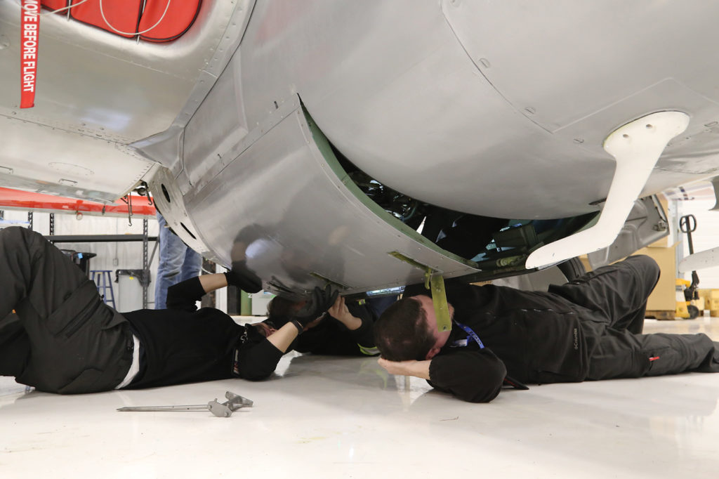 The diversity of the Warbirds' fleet has forcded the maintenance team to get creative inj order to keep the historic jet warbirds operational. John Drummond Photo