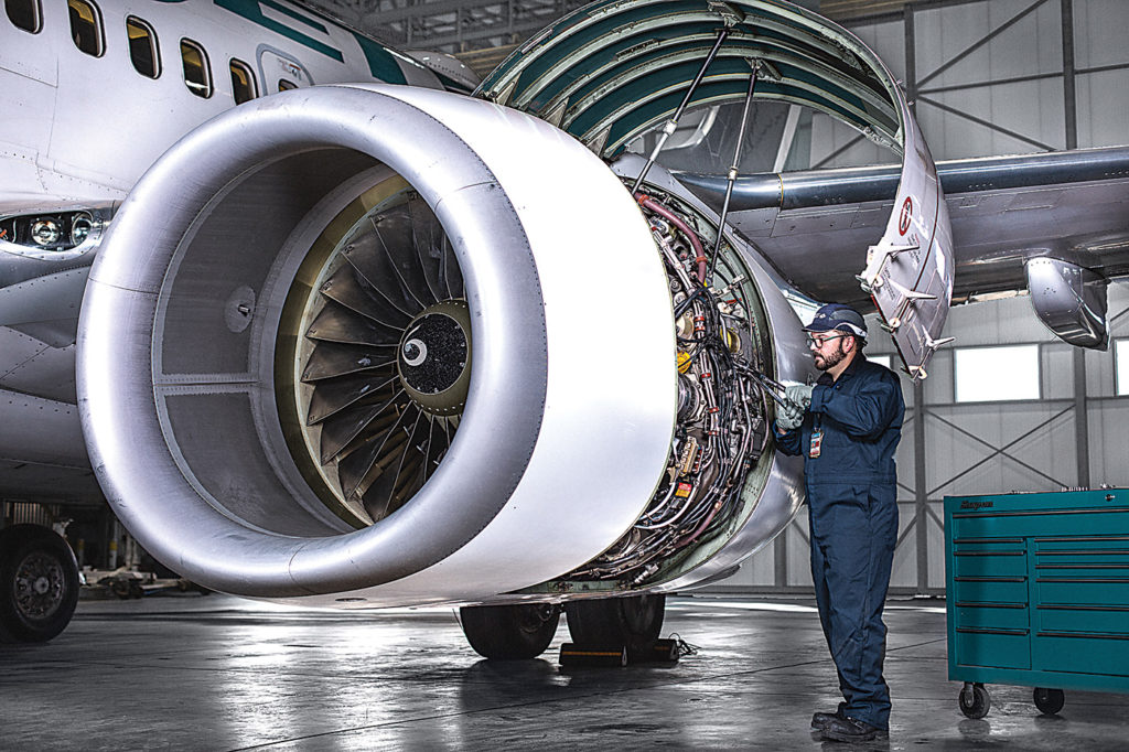 The industry needs a new crop of AMEs equipped with next generation skills such as composites repair and digital troubleshooting. At the same time, legacy skillsets will still be in demand. WestJet Photo