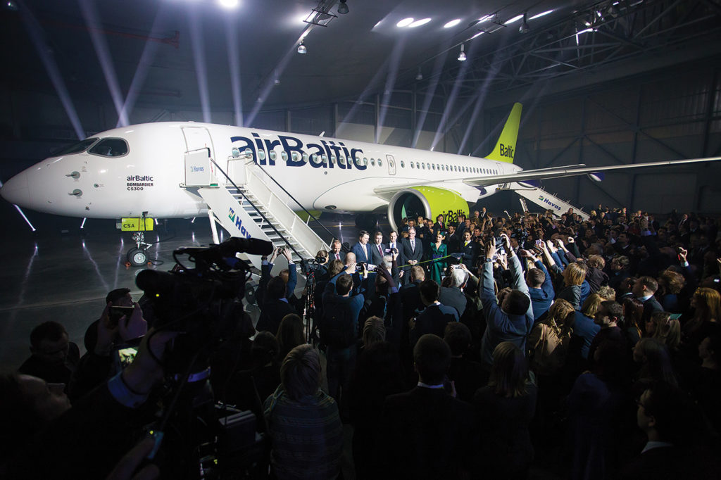 Latvian airline airBaltic was the launch operator for the C Series CS300 aircraft. The airline ordered a total of 20 CS300s in a 145-seat, two-class configuration. airBaltic Photo