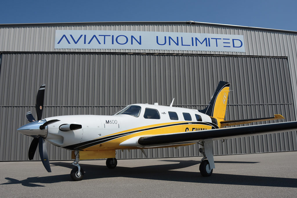 An M600 sits on the ramps in front of Aviation Unlimited in Oshawa, Ont., the exclusive Canadian dealer for new Piper aircraft. The M600 does not require a Canadian private operating certificate, a fact that appeals to owners. Eric Dumigan Photo