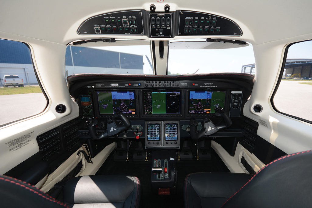 Perhaps the biggest change Piper delivers with the M600 is the upgrade to a Garmin G3000 avionics suite, with autopilot enhanced automatic flight control system and synthetic vision. Eric Dumigan Photo