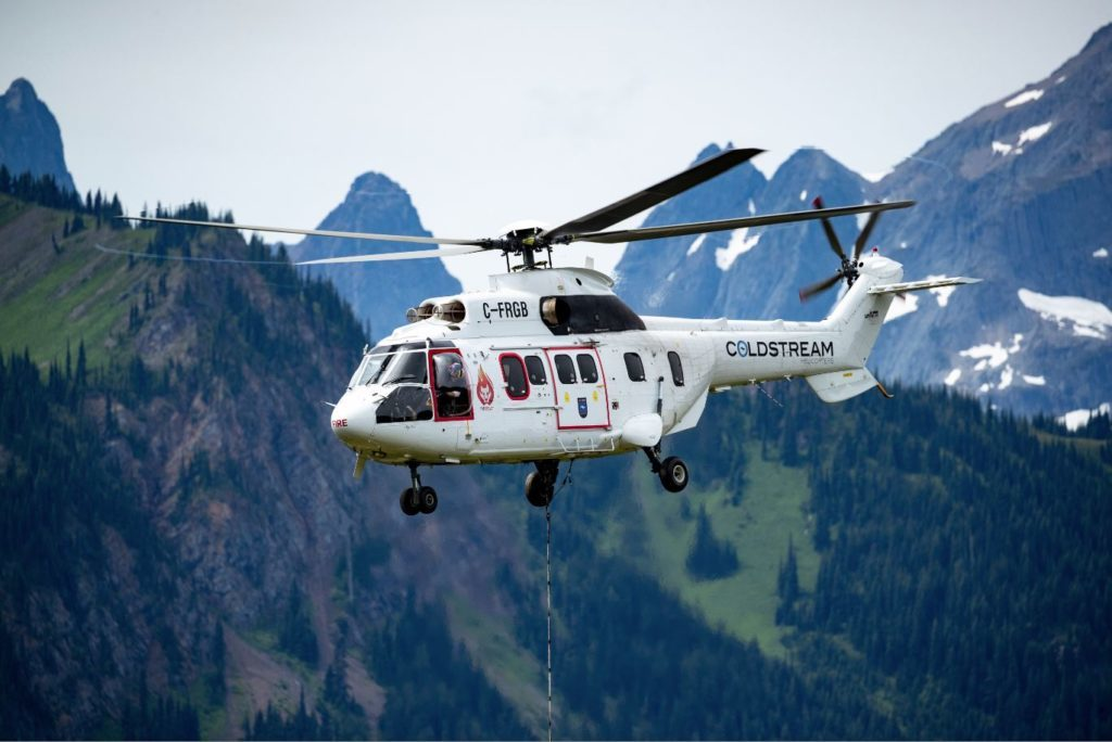 Coldstream Helicopters has begun operations with its Super Puma, which it has converted into a Firecat. Coldstream Photo