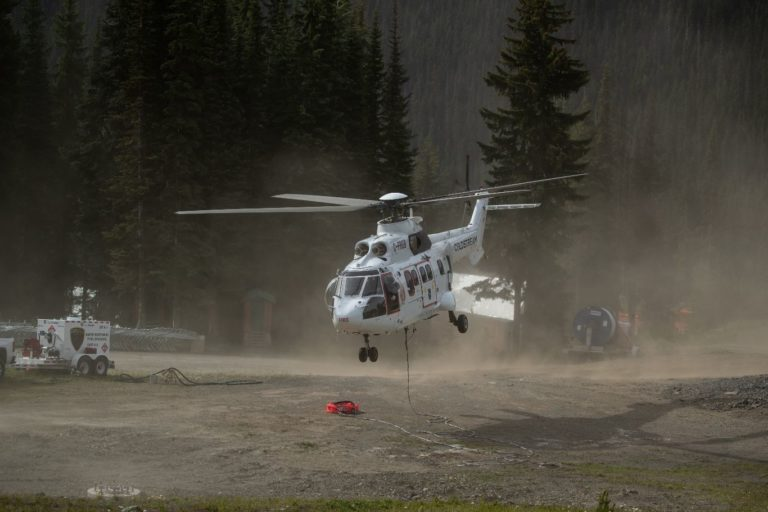 A 4,200-liter belly tank for Coldstream's Super Puma is currently in development, and the aircraft will use a bucket for firefighting operations in the meantime. Coldstream Photo