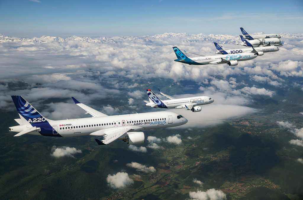 New family photo: When Airbus took over a majority stake in the C Series program on July 1, 2018, it took just 10 days for the aircraft family to be renamed the Airbus A220-100 and -300. Airbus Photo