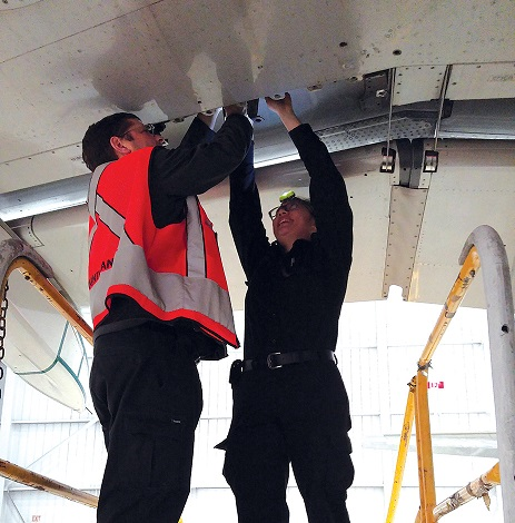 Selected Centennial College aviation technical students complete a 15-month work term at Air Canada. Air Canada Photo