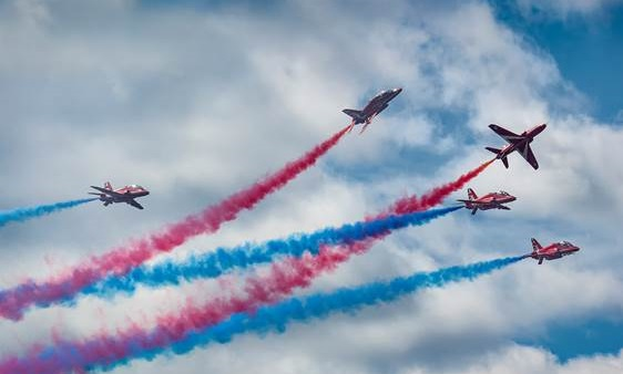 The Red Arrows were formed in 1965 and have performed over 5,000 displays in 57 countries around the world. Mike Luedy Photo