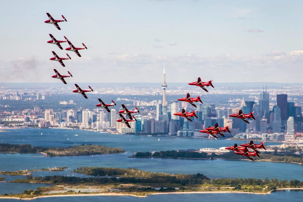 The Red Arrows flew with the Snowbirds during the Canadian International Air Show in Toronto. Sgt Ashley Keates Photo