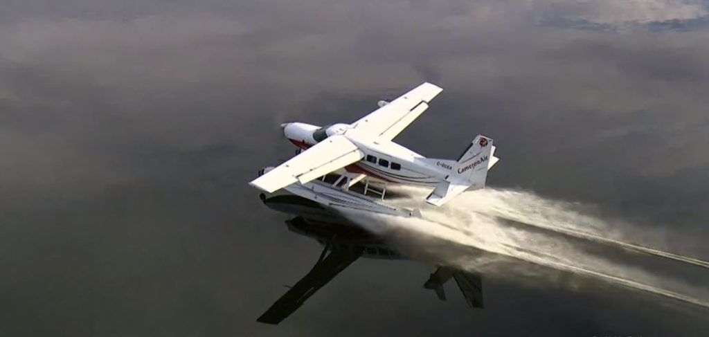 A Cessna Caravan lands on a lake in the Muskoka Region of Ontario during the filming of the finale for The Amazing Race Canada, season seven. Chris Chanda, Aerial Camera Operations Photo